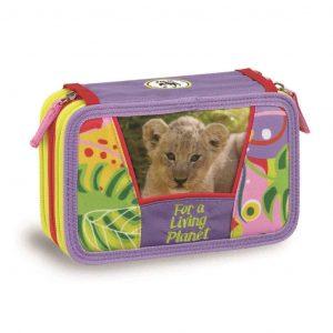 Astuccio WWF 3 zip girl viola jungle leone