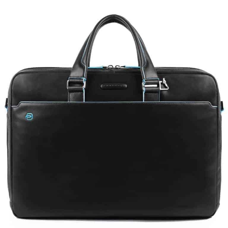 Cartella Piquadro 2 scomparti porta PC/iPad in pelle Blue Square nero