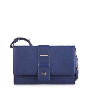 Pochette Piquadro donna con vano porta smartphone in pelle Lol blu