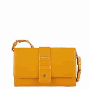 Pochette Piquadro donna con vano porta smartphone in pelle Lol giallo