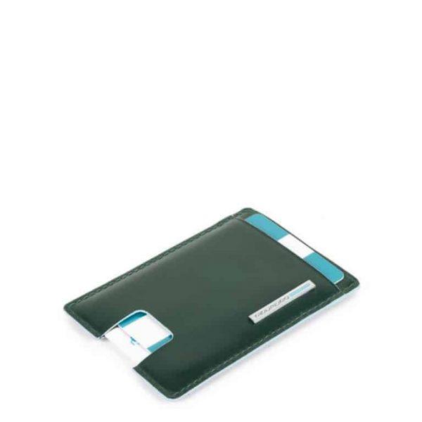 Porta carte credito Piquadro a estrazione in pelle Blue Square verde