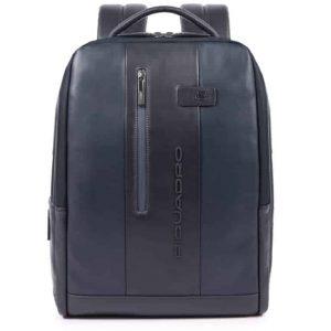Zaino Piquadro porta PC/iPad con cavo antifurto in pelle Urban blu