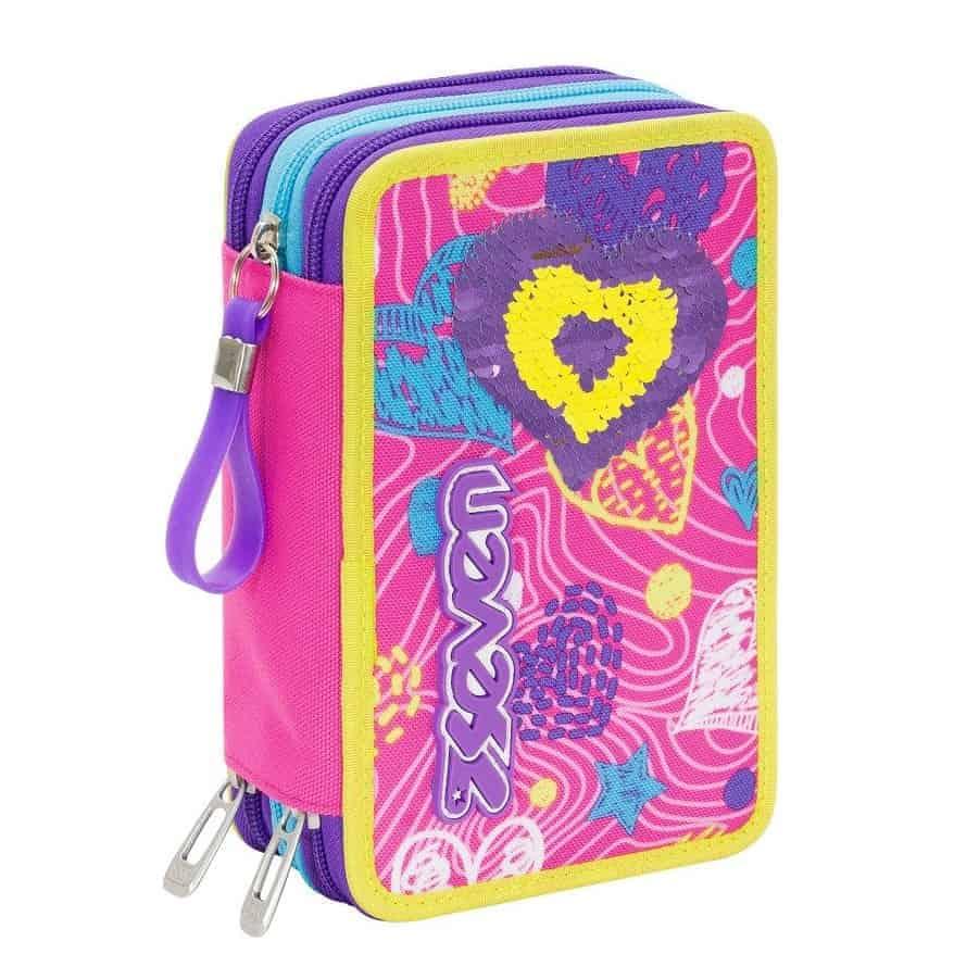 84f8711f13 Nuovo Astuccio Scuola 3 Zip Seven Girl SHINEHEART rosa modello 2019