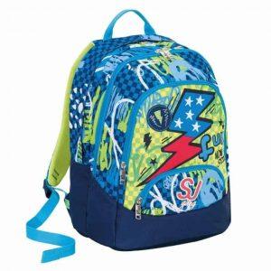 Sj Gang Seven School Pack Boy Zaino Maxi + Astuccio Azzurro Giallo