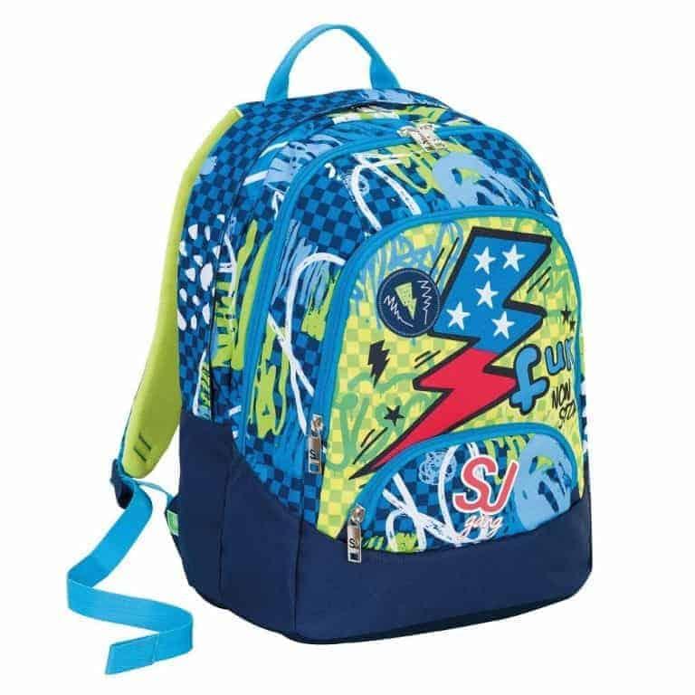 7bf9dd9b1a8791 Sj Gang Seven School Pack Boy Zaino Maxi + Astuccio Azzurro Giallo