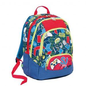 Sj Gang Seven School Pack Boy Zaino Maxi + Astuccio Rosso Blu