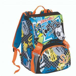 Sj High Tech Seven School Pack Boy Zaino Estensibile + Astuccio Nero Grigio