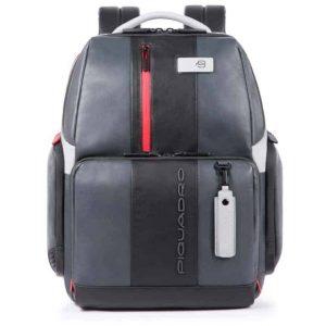 Zaino Piquadro fast-check porta PC/iPad in pelle Urban grigio nero