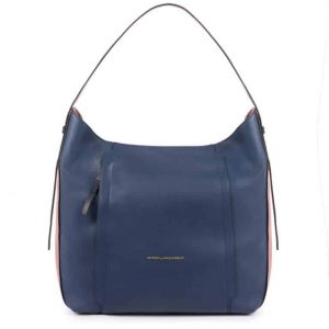 Borsa Piquadro donna hobo in pelle Circle blu