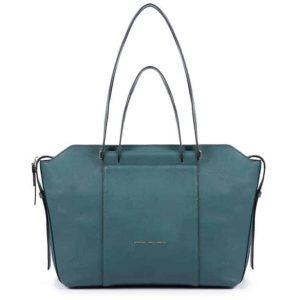 Borsa Piquadro shopping bag in pelle Circle ottanio