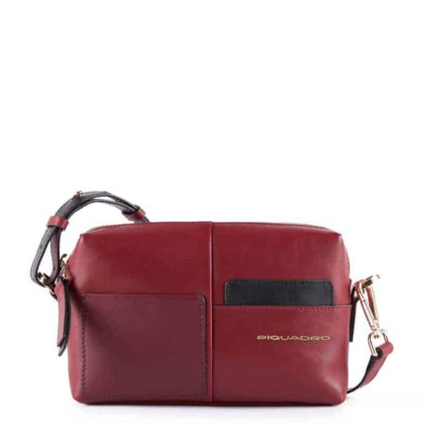 Borsa Piquadro tracolla modello camera case in pelle Echo bordeaux