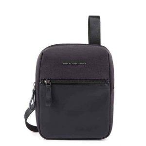 Borsello Piquadro piccolo porta iPad mini pelle e tessuto Tiros nero