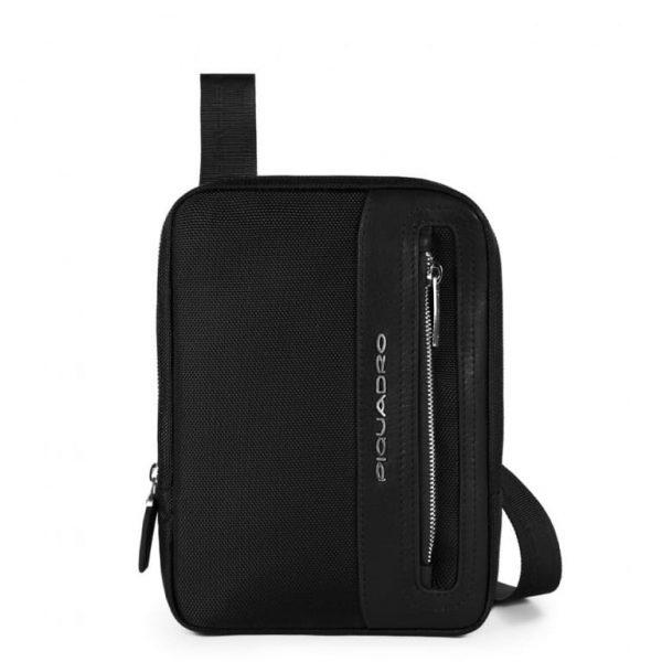 Borsello Piquadro porta Tablet 8 pelle tessuto LINK Nero