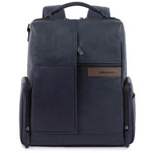 Zaino Piquadro porta pc e iPad con cavo antifurto in pelle BagMotic blu