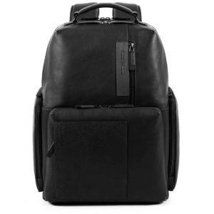 Zaino Piquadro porta pc e porta iPad in pelle Vanguard nero