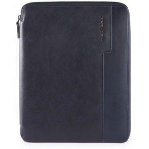 Portablocco Piquadro sottile formato A4 in pelle Wostok blu
