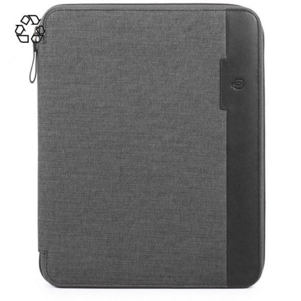 Portablocco Piquadro sottile formato A4 pelle tessuto Tiros grigio