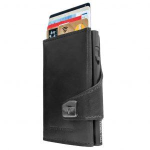 TRU VIRTU Porta carte di credito in Pelle CLICK & SLIDE Nappa Black-Black