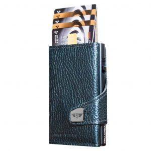 TRU VIRTU Porta carte di credito in Pelle CLICK & SLIDE Navy Metallic-Titan