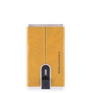 Compact Wallet Piquadro per banconote/carte credito in pelle Black Square giallo