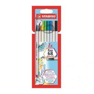 Pennarello Stabilo PEN 68 Brush 8 Colori Assortiti