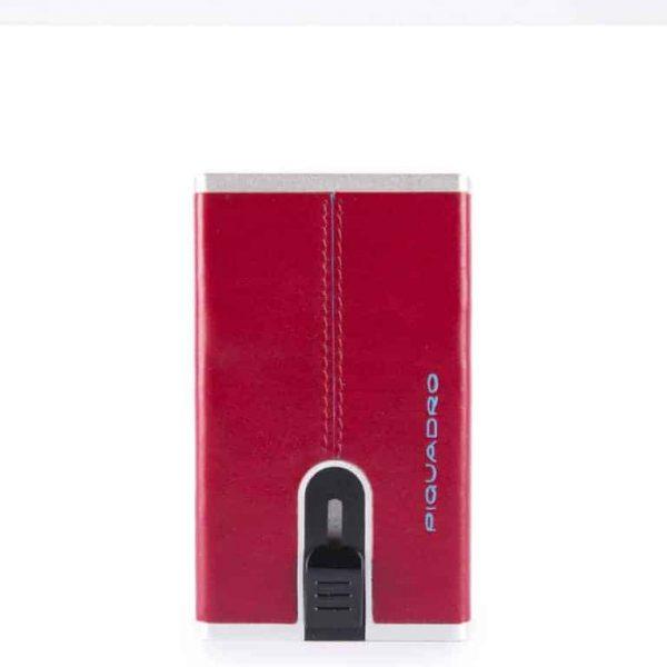Porta Carte di Credito Piquadro con sliding system in pelle Blue Square rosso