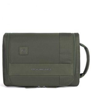 Beauty case Piquadro grande con gancio tessuto e pelle Tokyo verde