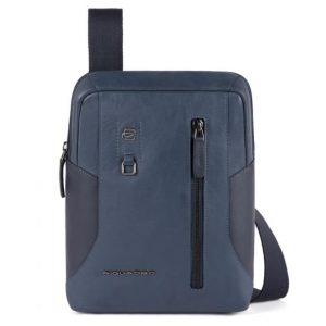 Borsello Piquadro grande porta Tablet in pelle Hakone blu