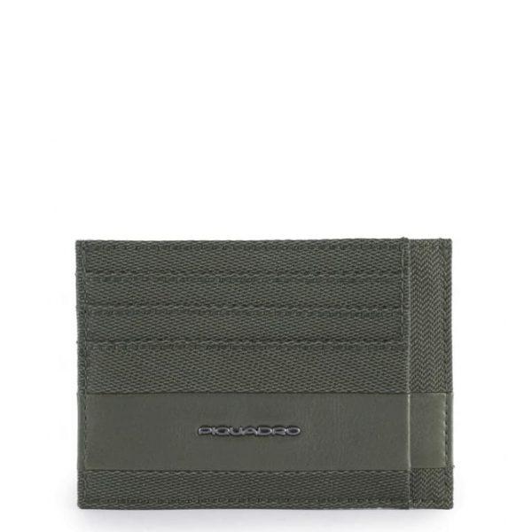 Bustina Piquadro porta carte credito tascabile pelle e tessuto verde