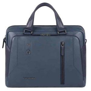 Cartella Piquadro 2 manici porta pc e porta tablet in pelle Hanoke blu