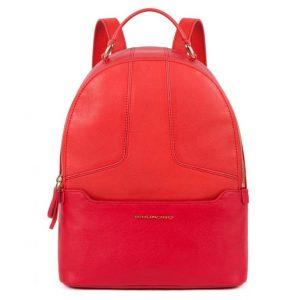 Zainetto Piquadro porta iPad due scomparti in pelle Hosaka rosso