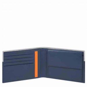 Portafoglio Piquadro uomo con portamonete in pelle Urban blu/grigio