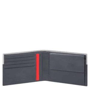 Portafoglio Piquadro uomo con portamonete in pelle Urban grigio/nero