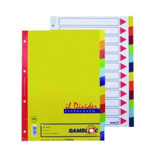 Rambloc divisori rinforzati 12 colori per copertine ad anelli 21x29