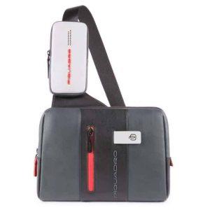 Monospalla Piquadro porta iPad in pelle Urban grigio nero