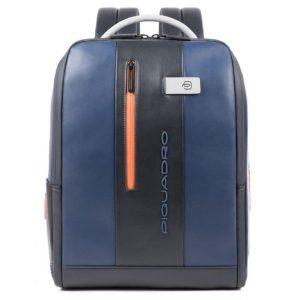 Zaino Piquadro porta PC/iPad con cavo antifurto in pelle Urban blu grigio