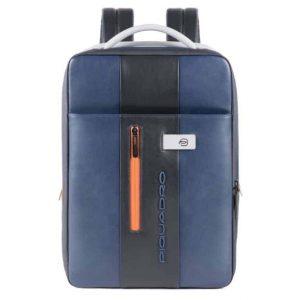 Zaino Piquadro sottile porta computer e iPad in pelle Urban blu grigio