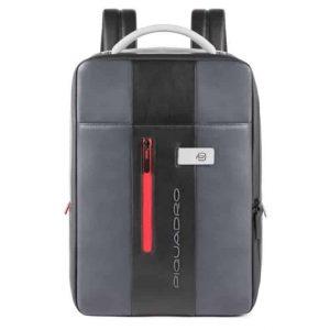 Zaino Piquadro sottile porta computer e iPad in pelle Urban grigio nero