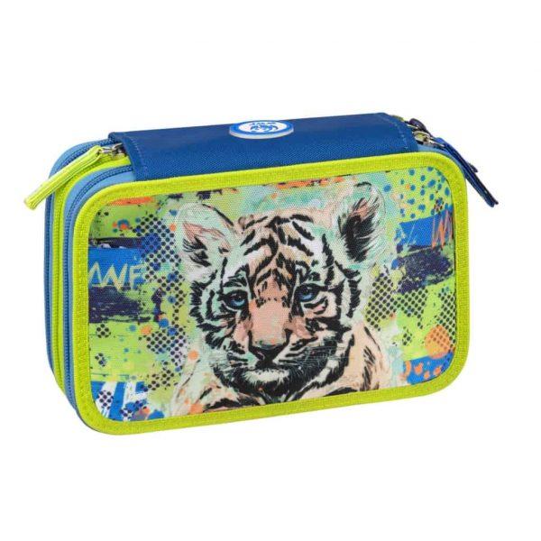 Astuccio WWF 3 zip boy blu for a living planet tigre