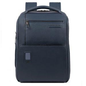Zaino Piquadro grande personalizzabile porta PC in pelle Akron blu