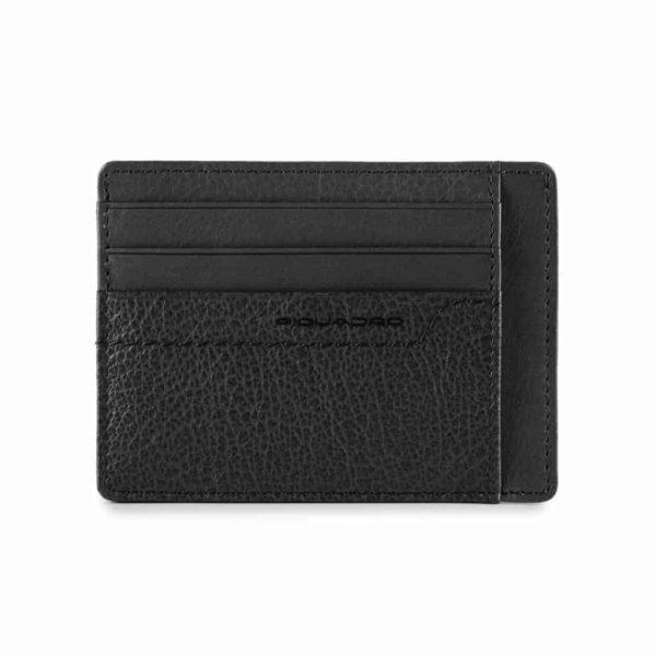 Bustina Piquadro porta carte credito tascabile in pelle Pan nero
