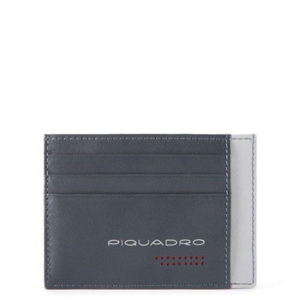 Bustina Piquadro porta carte credito tascabile in pelle Urban grigio nero