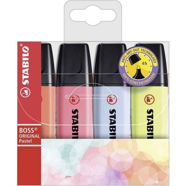 Evidenziatore Stabilo Boss Original Pastel Astuccio 4 colori assortiti SCUOLAWEB