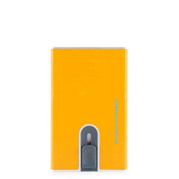 Porta Carte di Credito Piquadro con sliding system in pelle Blue Square giallo