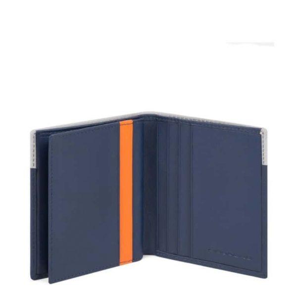 Porta carte di credito Piquadro in pelle Urban blu grigio