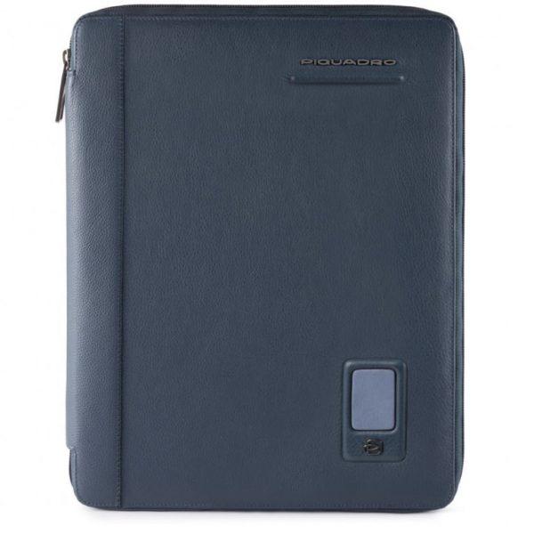 Portablocco Piquadro sottile formato A4 in pelle Akron blu