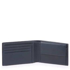 Portafoglio Piquadro uomo con porta documenti in pelle Urban blu