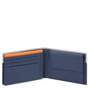 Portafoglio Piquadro uomo con porta documenti in pelle Urban blu grigio