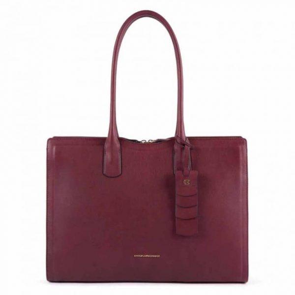 Shopping bag Piquadro donna grande porta computer in pelle Gea bordeaux