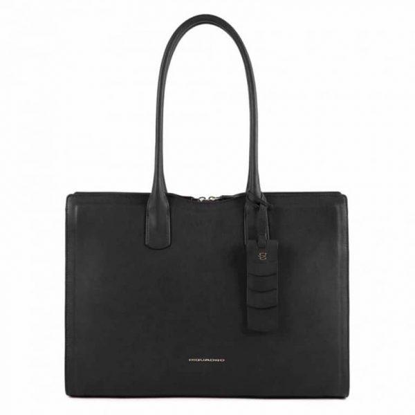 Shopping bag Piquadro donna grande porta computer in pelle Gea nero
